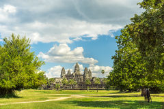 Ancient temple Angkor wat on a sunny day Stock Images