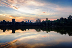 Ancient temple Angkor Wat at sunrise. Siem Reap, Cambodia Royalty Free Stock Photo