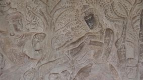 Ancient Temple (Angkor) - WS Bas-relief detail #1 stock video