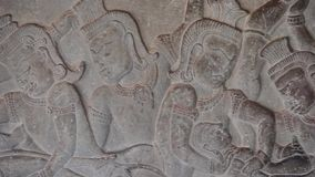 Ancient Temple (Angkor) - WS Bas-relief detail #1 stock video footage