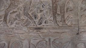 Ancient Temple (Angkor) - WS Bas-relief detail #1 stock footage