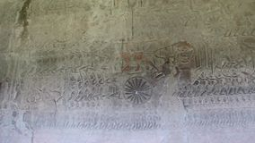 Ancient Temple (Angkor) - WS battle scene Bas-relief stock video