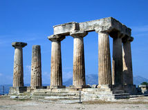 Ancient Temple of Apollo. Temple of Apollo in Corinth, Greece stock images