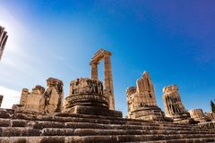 Ruins of the Apollo Temple in Didyma, Turkey. Stock Photos