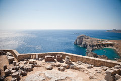 Ancient temple of Apollo at Lindos. Rhodes island, Greece royalty free stock photography