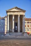 Ancient Temple Of Augustus With Corinthian Columns in Pula, Istria, Croatia Stock Photo