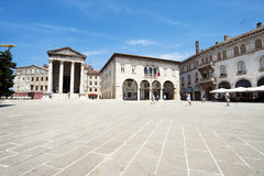 Ancient Temple of Augustus and Town Hall in Pula, Croatia Royalty Free Stock Photos