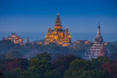Ancient temple in Bagan after sunset