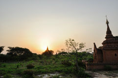 Ancient temple in Bagan after sunset , Myanmar Stock Images