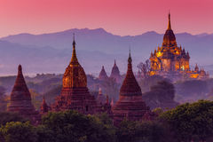 Ancient temple in Bagan after sunset Stock Images