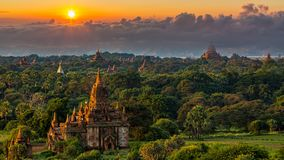 Ancient temple in Bagan after sunset, Myanmar temples in the Bagan Archaeological Zone, Myanmar stock images