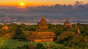 Ancient temple in Bagan after sunset, Myanmar temples in the Bagan Archaeological Zone, Myanmar stock photography