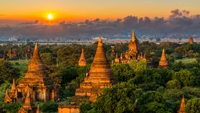 Ancient temple in Bagan after sunset, Myanmar temples in the Bagan Archaeological Zone, Myanmar stock image