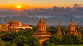 Ancient temple in Bagan after sunset, Myanmar temples in the Bagan Archaeological Zone, Myanmar royalty free stock images