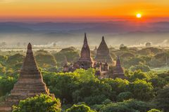 Ancient temple in Bagan after sunset, Myanmar temples in the Bagan Archaeological Zone, Myanmar royalty free stock photos