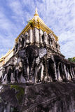 Ancient temple with Beauty sky, Wat Chiang Man in Chiang Mai, Thai Stock Photography