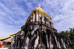 Ancient temple with Beauty sky, Wat Chiang Man in Chiang Mai, Thailand Royalty Free Stock Images