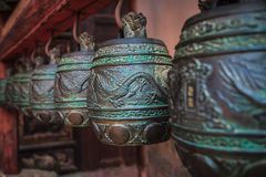 Ancient temple bells in closeup Royalty Free Stock Images