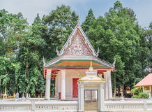 The ancient temple in buddism. The white church  is in the ancient temple in buddism Royalty Free Stock Photo