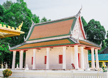The ancient temple in buddism. The white church in thai style in in ancient temple in buddism Royalty Free Stock Photo