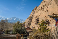 The ancient temple built in the mountain. Zhangye, Gansu of China Royalty Free Stock Photography