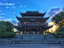 An ancient temple in China Suzhou. Kiosk lake mighty mysterious garden park tower stock photography
