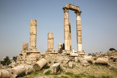 Ancient Temple on the Citadel in Amman, Jordan Royalty Free Stock Photos