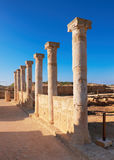 Ancient temple columns in Kato Paphos Archaeological Park on Cyp Royalty Free Stock Photo