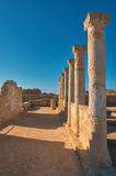 Ancient temple columns in Kato Paphos Archaeological Park on Cyp Stock Photography
