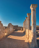 Ancient temple columns in Kato Paphos Archaeological Park on Cyp Royalty Free Stock Images