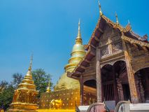 Ancient temple and d pagoda with blue sky background royalty free stock photos