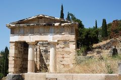 The ancient temple at Delphi Stock Image