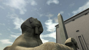 Ancient temple in Egypt. An image of an ancient temple of Egypt. 3D rendered Sphinx in front, a temple and an obelisk in the background Stock Image