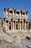 Ancient temple in Ephesus. Ancient Celsius library in Ephesus, front facade,Turkey Royalty Free Stock Image