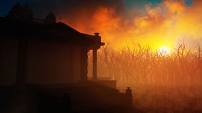 Ancient Temple On An Epic Fiery Sunset. Epic fiery sunset environment with the silhouette of an ancient temple Stock Photos