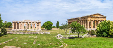 Ancient temple at famous Paestum Archaeological, Campania, Italy stock photography