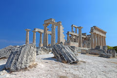 Ancient temple in Greece. Ancient temple of Aphaea Athena at the Aegina island in Attica, Greece Royalty Free Stock Image