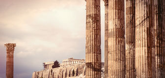 Ancient temple in Greece. Photo of the beautiful ancient columns in Greece on the temple background Stock Images