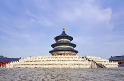 The ancient Temple of Heaven against a blue sky with white clouds, Beijing, China Stock Photo