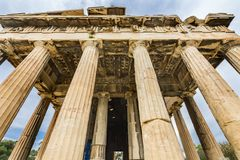 Ancient Temple of Hephaestus Columns Agora Athens Greece royalty free stock images