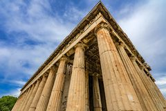Ancient Temple of Hephaestus Columns Agora Athens Greece royalty free stock image