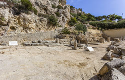 Ancient temple of Hera ruins in Loutraki Stock Photos