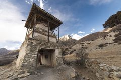 An ancient temple in the Himalayas, Nepal. Manang Region, 2017. An ancient temple in the Himalayas, Nepal. Manang Region, December 2017 Stock Photo