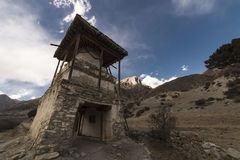 An ancient temple in the Himalayas, Nepal Manang Region, December 2017. An ancient temple in the Himalayas, Nepal . Manang Region, December 2017 Royalty Free Stock Images