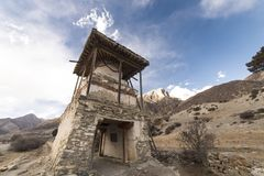 An ancient temple in the Himalayas, Nepal Manang Region, December 2017. An ancient temple in the Himalayas, Nepal. Manang Region, December 2017 Stock Photos
