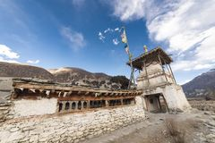 An ancient temple in the Himalayas, Nepal Manang Region, December 2017. An ancient temple in the Himalayas, Nepal. Manang Region, December 2017 Royalty Free Stock Images