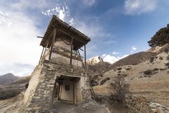 An ancient temple in the Himalayas, Nepal. Manang Region, 2017. An ancient temple in the Himalayas, Nepal. Manang Region, December 2017 Royalty Free Stock Photo