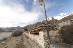 An ancient temple in the Himalayas, Nepal. Manang Region, December. 2017 Stock Images