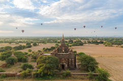 Ancient temple with hot air balloon in Bagan (Pagan). Stock Images
