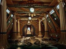 Ancient Temple Interior, 3d CG royalty free illustration